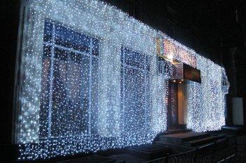 """Светодиодный занавес """"Водопад"""", 1 х 3 метра, прозрачный провод: синий"""