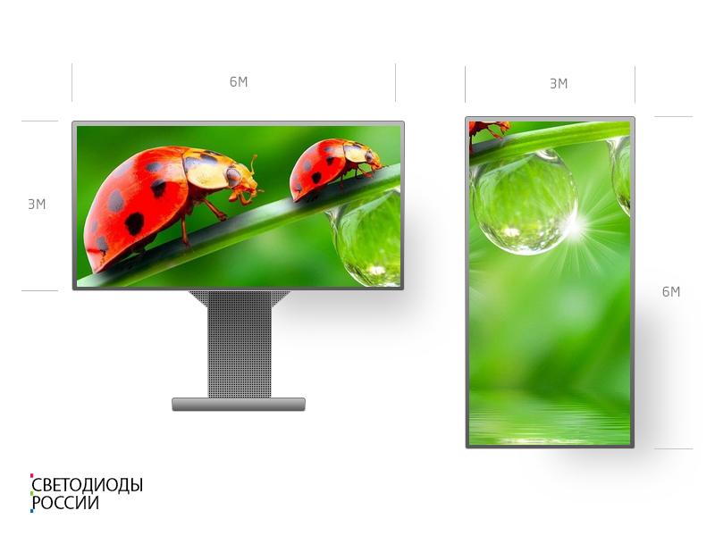 Светодиодный уличный рекламный экран 6 х 3 м P10