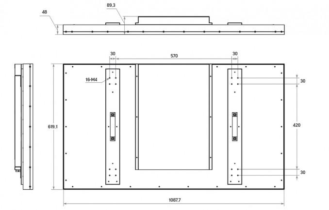 "LCD панель 49"" (16:9) для видеостен / рамка 8мм"