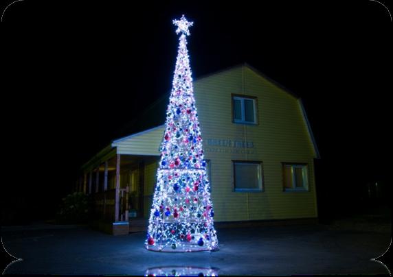 Световая ёлка, высота 8 м, диаметр 2,4 м